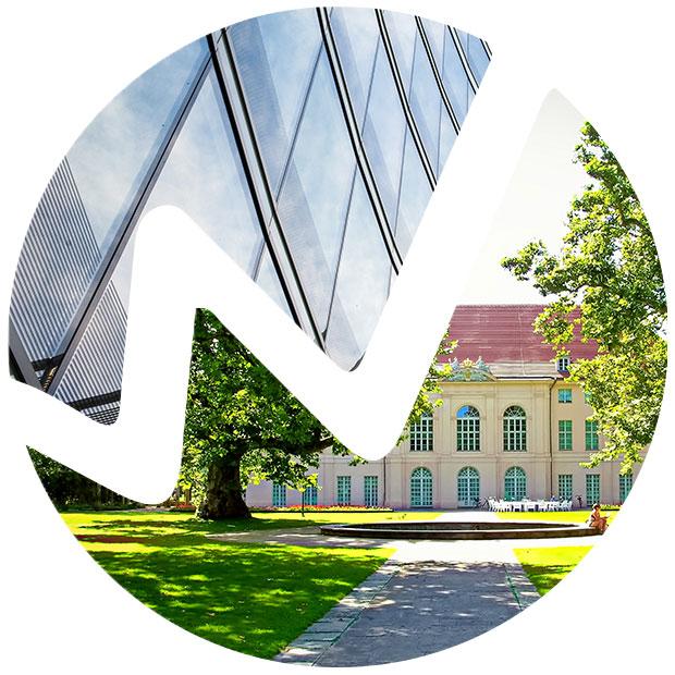 Wirtschaftskreis Pankow e.V. - Logo/Signet mit Inhalt: moderne Bürohausfassade und Schloss Niederschönhausen